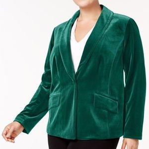 I.N.C Plus Size Velvet Blazer Hunter Green Size 1X